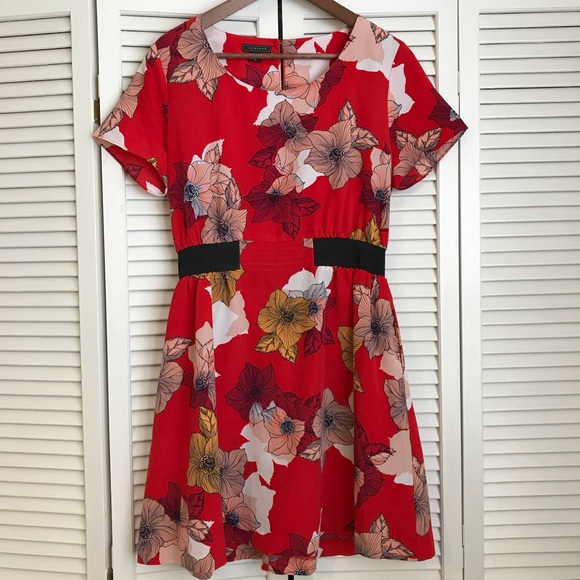 Metaphor Dresses & Skirts - Red floral dress with elastic waist